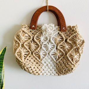 Straw Macrame Handbag Wooden Handle